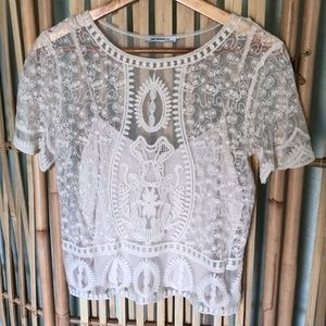 Zara Cream Lace Cop Top Size S